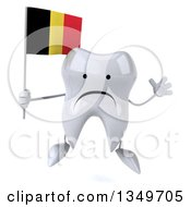 Clipart Of A 3d Unhappy Tooth Character Jumping And Holding A Belgian Flag Royalty Free Illustration
