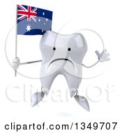 Clipart Of A 3d Unhappy Tooth Character Jumping And Holding An Australian Flag Royalty Free Illustration