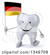 Clipart Of A 3d Happy Tooth Character Walking And Holding A German Flag Royalty Free Illustration