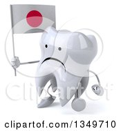 Clipart Of A 3d Unhappy Tooth Character Walking To The Left Holding A Japanese Flag Royalty Free Illustration by Julos