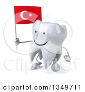 Clipart Of A 3d Happy Tooth Character Walking To The Left And Holding A Turkish Flag Royalty Free Illustration by Julos
