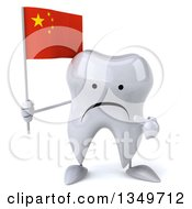 Clipart Of A 3d Unhappy Tooth Character Holding And Pointing To A Chinese Flag Royalty Free Illustration