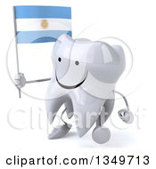 Clipart Of A 3d Happy Tooth Character Walking To The Left Holding An Argentine Flag Royalty Free Illustration by Julos