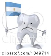 Clipart Of A 3d Unhappy Tooth Character Giving A Thumb Down And Holding An Argentine Flag Royalty Free Illustration