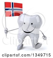 Clipart Of A 3d Happy Tooth Character Walking And Holding A Norwegian Flag Royalty Free Illustration