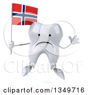 Clipart Of A 3d Unhappy Tooth Character Jumping And Holding A Norwegian Flag Royalty Free Illustration