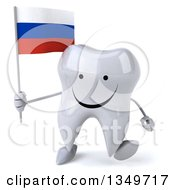 Clipart Of A 3d Happy Tooth Character Walking And Holding A Russian Flag Royalty Free Illustration