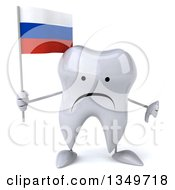 Clipart Of A 3d Unhappy Tooth Character Giving A Thumb Down And Holding A Russian Flag Royalty Free Illustration