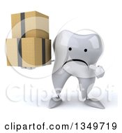 Clipart Of A 3d Unhappy Tooth Character Holding And Pointing To Boxes Royalty Free Illustration