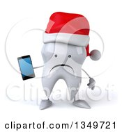 Clipart Of A 3d Unhappy Christmas Tooth Character Wearing A Santa Hat And Holding A Smart Phone Royalty Free Illustration