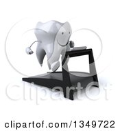Clipart Of A 3d Happy Tooth Character Running On A Treadmill Royalty Free Illustration