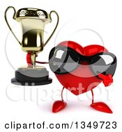 Clipart Of A 3d Heart Character Wearing Sunglasses Holding And Pointing To A Trophy Royalty Free Illustration by Julos