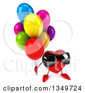 Clipart Of A 3d Heart Character Wearing Sunglasses And Holding Up Party Balloons Royalty Free Illustration by Julos