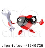 Clipart Of A 3d Heart Character Wearing Sunglasses And Holding Up A Thumb And Wrench Royalty Free Illustration by Julos