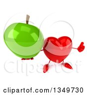 Clipart Of A 3d Heart Character Holding Up A Thumb And Green Apple Royalty Free Illustration by Julos