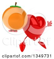 Clipart Of A 3d Heart Character Holding A Navel Orange And Jumping Royalty Free Illustration by Julos