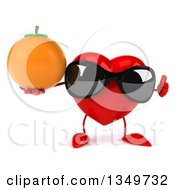 Clipart Of A 3d Heart Character Wearing Sunglasses Giving A Thumb Up And Holding A Navel Orange Royalty Free Illustration by Julos