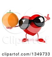 Clipart Of A 3d Heart Character Wearing Sunglasses Holding Up A Finger And A Navel Orange Royalty Free Illustration by Julos