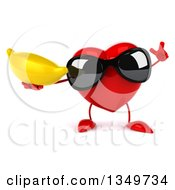 Clipart Of A 3d Heart Character Wearing Sunglasses Holding Up A Finger And A Banana Royalty Free Illustration by Julos