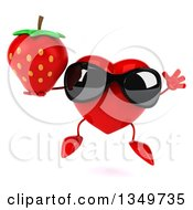 Clipart Of A 3d Heart Character Wearing Sunglasses Jumping And Holding A Strawberry Royalty Free Illustration by Julos