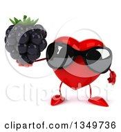 Clipart Of A 3d Heart Character Wearing Sunglasses And Holding A Blackberry Royalty Free Illustration by Julos