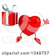 Clipart Of A 3d Heart Character Holding A Gift And Jumping Royalty Free Illustration by Julos