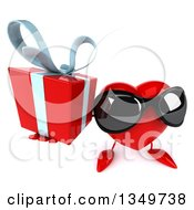Clipart Of A 3d Heart Character Wearing Sunglasses And Holding Up A Gift Royalty Free Illustration by Julos