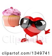 Clipart Of A 3d Heart Character Wearing Sunglasses Shrugging And Holding A Cupcake Royalty Free Illustration by Julos