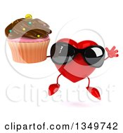 Clipart Of A 3d Heart Character Wearing Sunglasses Jumping And Holding A Cupcake Royalty Free Illustration by Julos