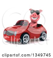 Clipart Of A 3d Pig Wearing Sunglasses And Driving A Red Convertible Car To The Left Royalty Free Illustration