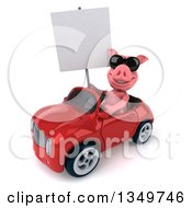 Clipart Of A 3d Pig Wearing Sunglasses Holding A Blank Sign And Driving A Red Convertible Car To The Left Royalty Free Illustration