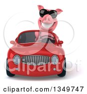 Clipart Of A 3d Pig Wearing Sunglasses And Driving A Red Convertible Car Royalty Free Illustration