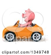 Clipart Of A 3d Pig Driving A Yellow Convertible Car To The Left Royalty Free Illustration