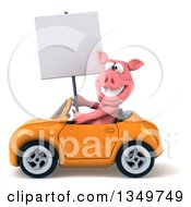 Clipart Of A 3d Pig Holding A Blank Sign And Driving A Yellow Convertible Car To The Left Royalty Free Illustration