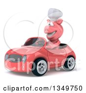 Clipart Of A 3d Pig Chef Driving A Pink Convertible Car To The Left Royalty Free Illustration by Julos