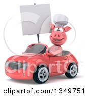 Clipart Of A 3d Pig Chef Holding A Blank Sign And Driving A Pink Convertible Car To The Left Royalty Free Illustration