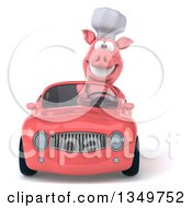 Clipart Of A 3d Pig Chef Driving A Pink Convertible Car Royalty Free Illustration