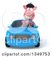 Clipart Of A 3d French Pig Driving A Blue Convertible Car Royalty Free Illustration by Julos