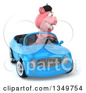 Clipart Of A 3d French Pig Driving A Blue Convertible Car Royalty Free Illustration