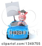 Clipart Of A 3d French Pig Holding A Blank Sign And Driving A Blue Convertible Car Royalty Free Illustration