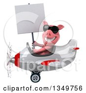 Clipart Of A 3d Pig Aviator Pilot Wearing Sunglasses Holding A Blank Sign And Flying A White And Red Airplane To The Left Royalty Free Illustration