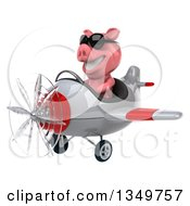 Clipart Of A 3d Pig Aviator Pilot Wearing Sunglasses And Flying A White And Red Airplane To The Left Royalty Free Illustration
