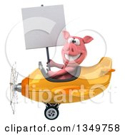Clipart Of A 3d Pig Aviator Pilot Holding A Blank Sign And Flying A Yellow And Orange Airplane To The Left Royalty Free Illustration