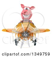 Clipart Of A 3d Pig Aviator Pilot Flying A Yellow And Orange Airplane Royalty Free Illustration by Julos