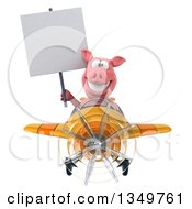 Clipart Of A 3d Pig Aviator Pilot Holding A Blank Sign And Flying A Yellow And Orange Airplane Royalty Free Illustration