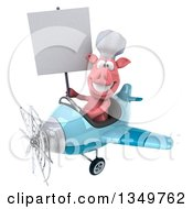 Clipart Of A 3d Pig Aviator Pilot Holding A Blank Sign And Flying A Blue Airplane To The Left Royalty Free Illustration by Julos