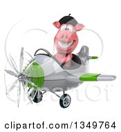 Clipart Of A 3d French Pig Aviator Pilot Flying A White And Green Airplane To The Left Royalty Free Illustration