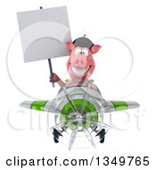 Clipart Of A 3d French Pig Aviator Pilot Holding A Blank Sign And Flying A White And Green Airplane Royalty Free Illustration