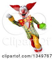 Clipart Of A 3d Funky Clown Holding A Green Apple And Flying Royalty Free Illustration