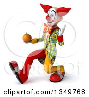 Clipart Of A 3d Funky Clown Holding A Navel Orange Walking And Waving To The Left Royalty Free Illustration